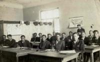 Bohuš (last row, left of the standing student), Agricultural College, Moravská Nová Ves 1946
