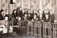 Father Václav Irmanov in the orchestra in 1945