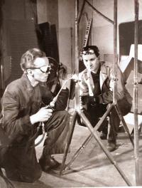 Father Václav Irmanov at work in the studio - welding of the stand