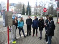 Jiří Fajmon with students at the tram stop of Charter 77 signatories