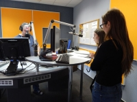 Students in a radio station in Karlovy Vary