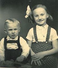Eva Dědková with her brother