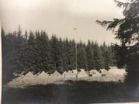"""Scout camp at river Teplá on """"Ovčí louka"""" in the 1947"""