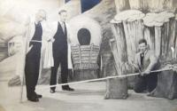 Father paints the scene for theater in Holice