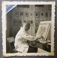 Father while painting.