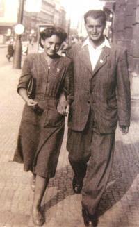 With Hanuš (Dovem) Sternlicht, forthcoming husband. Prague 1948.