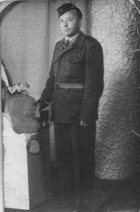 Husband Václav Císař in the uniform of the Auxiliary Technical Battalions 1952