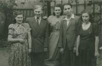 Mikuláš second left with his Jewish friends, first left is Renka, his distant relative, Topolčany about 1946