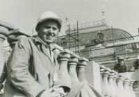 Mikuláš as an electrician on the roof of the National Theatre, Prague turn of the 1960s and 1970s