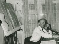 Mikuláš in the office of the Elektropodnik Prague, beginning of the 1970s