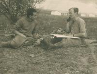 Mikuláš as a commander of mortar gunners defending the kibbutz Gvul, 1950