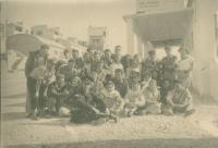 Trip of the kibbutzniks, Mikuláš first in the line second left, about 1952