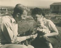 Mikuláš with his wife Dáša and daughter Dana, kibbutz Lehavot Chaviva, about 1954