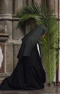 Sister Dominika in the St. Vitus cathedral on Palm Sunday