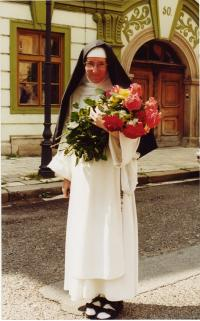 Sister Dominika with roses
