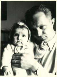 One-year-old Jana with her father