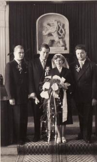 The wedding of Miroslav Hampl and Evženie in 1955