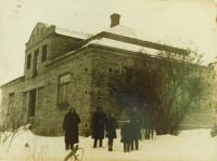 The family Hajný in front of their house in České Dorohostaje in 1947