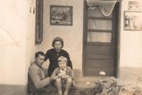In front of Poznik's home; Franjica, Franja and Marenka; village of Beska, 1969