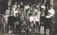 Fourth grade, Vladimir Nazor Elementary School (today Jovan Ducic), in front of the main entrance around, Petrovaradin, 1967