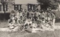 arrival from ORA Tjentiste 1983, courtyard of the sport society Partizan (Sokolski Dom Partizan), Petrovaradin/Serbia