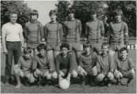 "Captain of the youth soccer team ""B"" TJ Motorlet Praha, 2d row on the right with an armband, 1986/7"