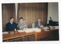 Press conference in the Office for Documentation and Investigation of Crimes of the Communist Regime, left: P.Žáček, right: V. Benda, 1995