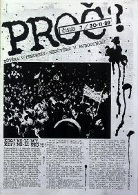 "Front page of the faculty magazine Proto (""That's Why), n.7, 20.11.1989"