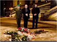 Paying respects to Jan Palach, with D.Herman and E.Stehlíkáclavské náměstí, leden 2013