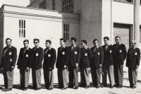Boxing team of ČSR before tournament in Romania, 1952, J. Zachara third from left