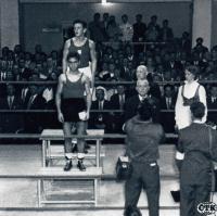 J. Zachara as a golden winner at Olympic Games in Helsinki, 1952