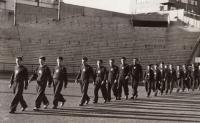 Ceremonial formation at Europe Championship in Oslo 1949, J. Zachara second in row