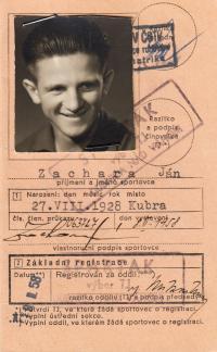 Sportsman ID of J. Zachara, 1950