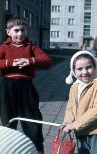 Miroslav Prokeš with his sister Jana in 1966