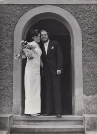 Wedding photo with Kamil's wife Jana Novotná, 1974