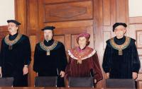 Josef Kovalčuk, 2nd from the left, as a dean during graduation ceremony