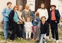 In Horní Dubénky with his family, the priest Štěpán Hájek and his colleague Petr Oslzlý, 1997