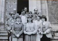The family of Mr. Dvořák with Jiří Šnajdr and other believers