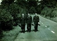 With friends at Cosford, England. Left F.Fajtl, S.Rejthar, A.Zimmer, July 1940