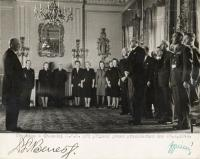 Office workers of the President Benes´s at the ceremony, England 28.10. 1943, Jaroslav Horníček third left