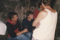 Daniel Kříž (in the middle) on the vintage, 1991