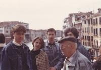 Daniel Kříž (left) with colleagues from the choir, 1990