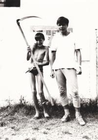 Daniel Kříž (right) at the 1988 Summer Camp