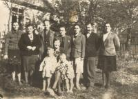 Below the mother and her sons, Vaclav and Rostislav, in front of the house in Český Malín probably in 1946.