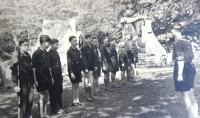 Tchelet Lavan summer camp. Matti Cohen (Mathias Kohn) first from left, Rakousy 1938.