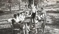 Tchelet Lavan summer camp. Rakousy 1938. Matti lying on the bench.