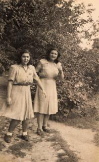 With sister, 1946