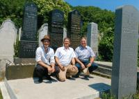 Fifth generation of Steiners near family grave in Bratislava