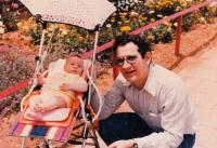 With daughter, 1981