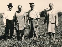 From left: Uncle and aunt Herman and Paulina Kirschner, František Horn, Gabi Storch